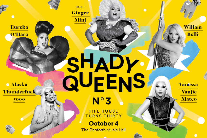 A postcard showing all five queens (Ginger Minj, Eureka O'Hara, Willam, Alaska Thunderfuck 5000, and Vanessa Vanjie Mateo) for Shady Queens 3: Fife House Turns 30