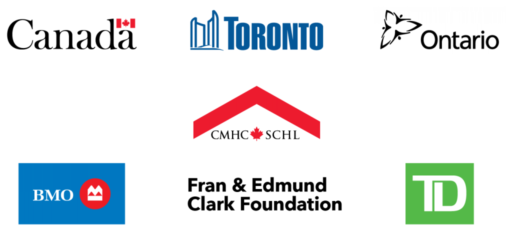 A collection of logos of sponsors including the government of Canada, the city of Toronto, the province of Ontario, CMHC/SCHL, Bank of Montreal, the Fran and Edmund Clark Foundation, and Toronto Dominion Bank