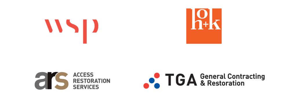 A collection of logos of sponsors including WSP, HoK Architects, ARS Access Restoration Services, and TGA General Contracting and Restoration